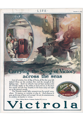 Victor Victrola advertisement Carrying the Songs of Victory across the seas