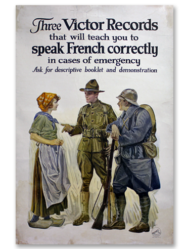 Victor Records Speak French Correctly poster by the Victor Talking Machine Co. - 1917