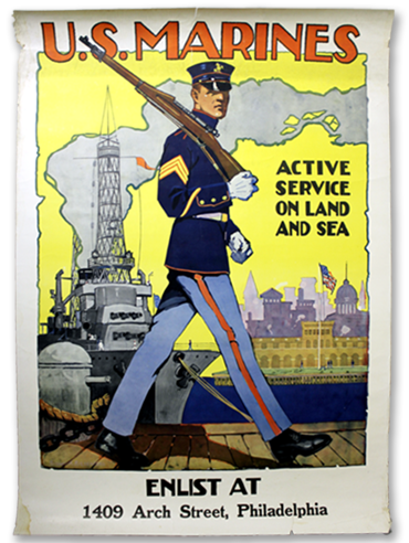 U.S. Marines - Active on Land and Sea poster by Sidney H. Riesenberg - 1917