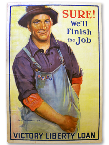 Sure! We'll Finish the Job poster by Gerrit A. Beneker - 1918