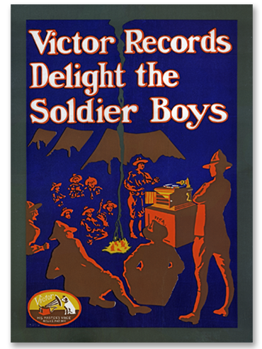 Victor Records Delight The Soldier Boys poster by the Victor Talking Machine Co. - WWI era