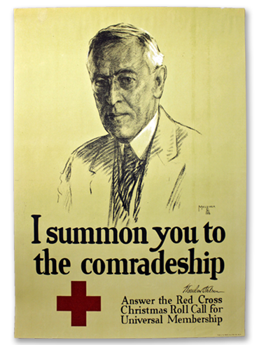 I Summon You To Comradeship poster by Leo Mielziner - 1918. Featuring Woodrow Wilson.