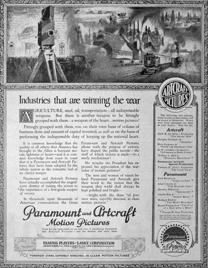 Paramount and Artcraft Motion Pictures advertisement in The National Weekly - October 26, 1918