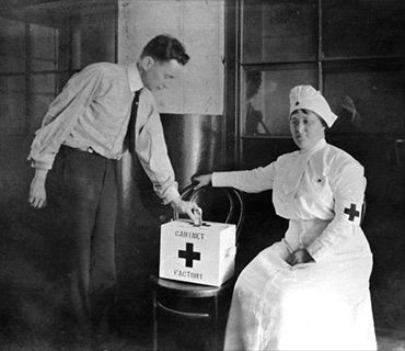 Red Cross volunteer and William D. Stevenson, plant manager, with donation box at the Victor Talking Machine Co. Camden, N.J. plant.
