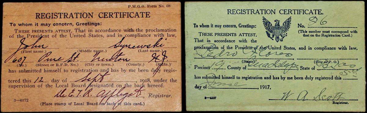 Selective service registration cards. John Synewski from New Jersey & Pedro Flores from Texas