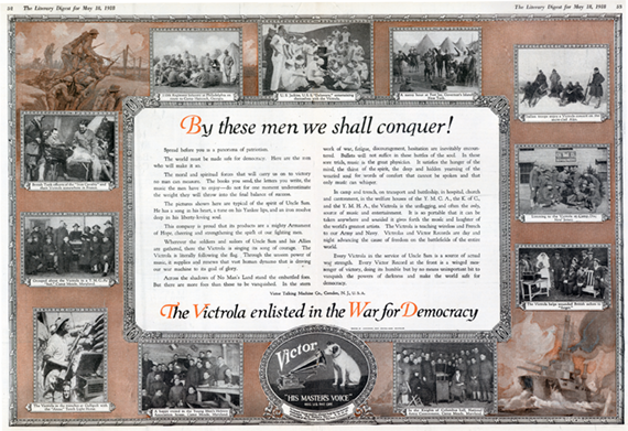 Victor Victrola advertisement 'By these men we shall conquer! - The Victrola enlisted in the War for Democracy'