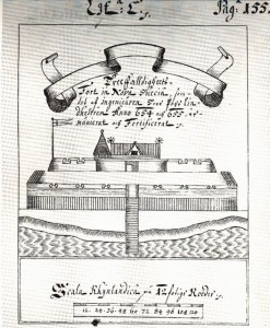 Image of Fort Casimir after it had been captured by the Swedes, improved and renamed Fort Trefalddighet.