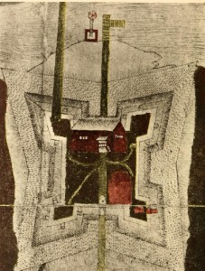 Detail from a map of Fort Christina by Per Lindeström, 1654