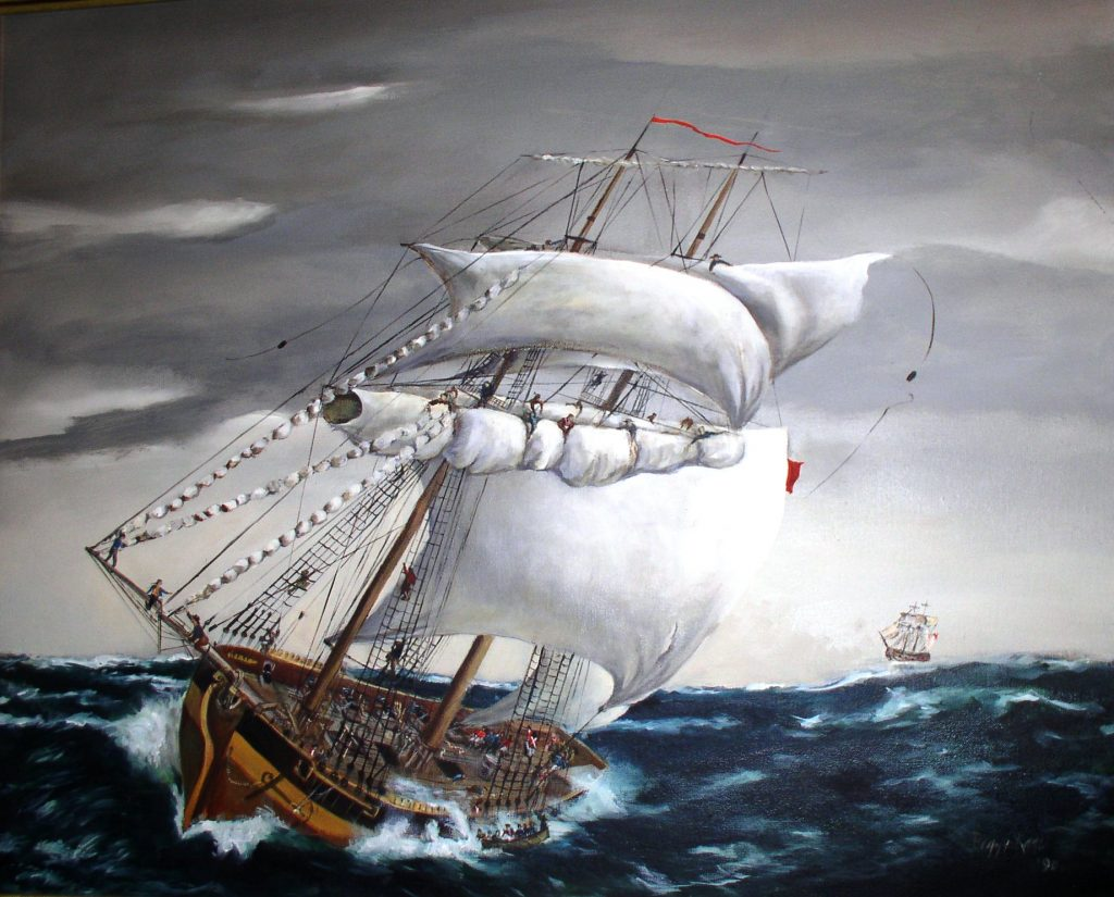 Photo of a painting of the capsizing of the DeBraak by Peggy Kane, 1990.