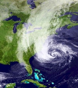 Hurricane Sandy bearing down on the East Coast of the United States in October 2012.