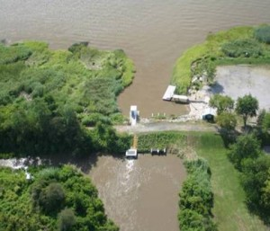 Aerial view of a section of the Broad Marsh Dike.