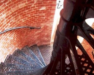 Spiral staircase inside the Fenwick Island Lighthouse.