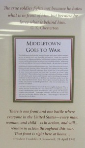 Opening panel of the Middletown Goes to War exhibit.