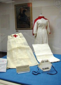 Display featuring an American Red Cross nurse's uniform and accessories.
