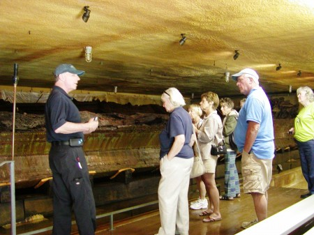 """Visitors enjoying a tour of the DeBraak hull as part of the program """"The DeBraak and Its Atlantic World."""""""