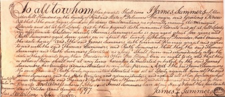 Photo of Thomas and Ruth Summers' manumission document from the Delaware Public Archives.