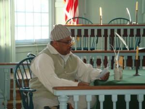 Historic-site interpreter Tom Pulmano portraying Vincent Summers.