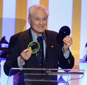 Oliver Berliner upon accepting his grandfather's 2nd Grammy Award, January 2014. Photo courtesy NARAS. Berliner will speak at the Johnson Victrola Museum on Oct. 4, 2014.