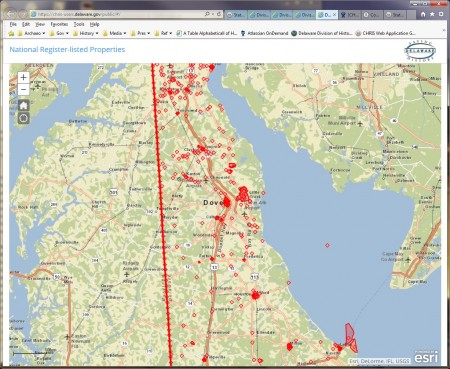 National Register locations in Delaware from the updated version of CHRIS.