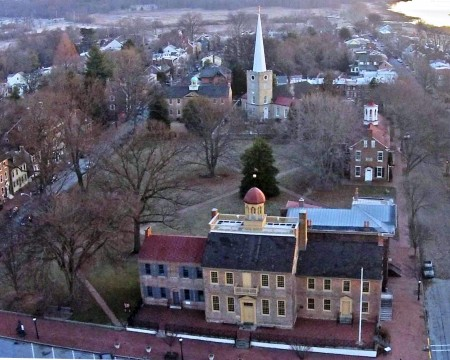 Aerial view of the New Castle Green. In the foreground is the New Castle Court House Museum, followed counterclockwise by the Arsenal, Immanuel Episcopal Church and the Academy. Photo by Bruce Burk.