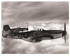 Photograph of two P-51 Mustang fighter aircraft from the William D. Willis World War II Photographic Collection.