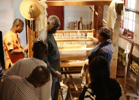 Exploring the plantation's barn loom.