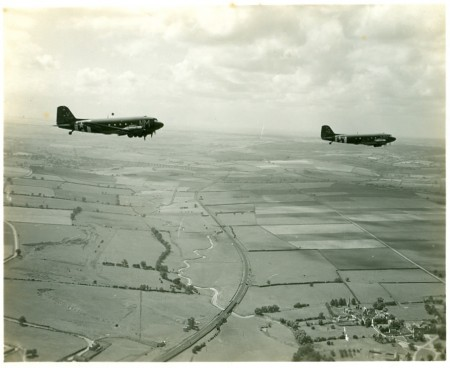 Photograph of two C-47 Skytrains.