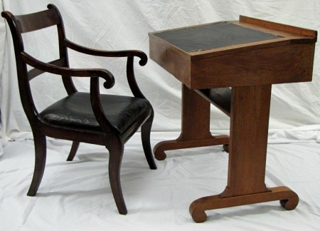 """Circa 1840s desk and chair from the display """"The Old State House: A True Restoration 1976-2016"""""""