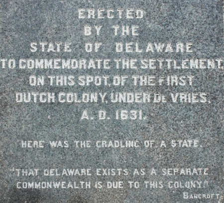Text from the de Vries monument in Lewes, Del.