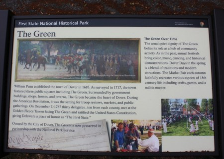 First State National Historical Park interpretive sign on the Dover Green.