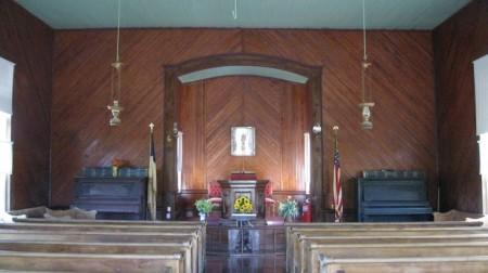 Interior of the Hebron Methodist Protestant Church.