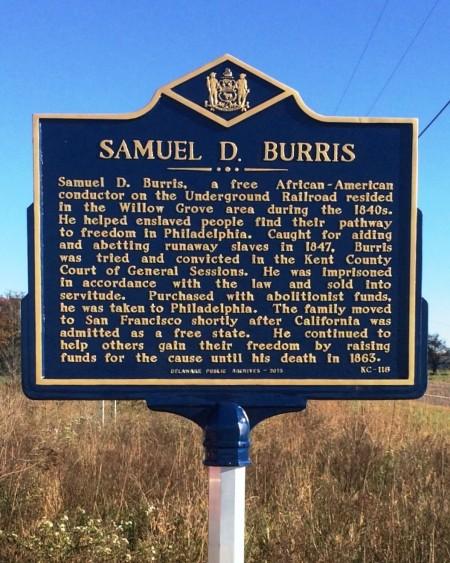 Historical marker honoring Samuel D. Burris.