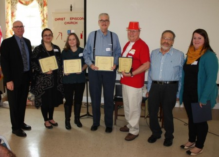 Division volunteers honored at the end-of-the-year success event. (From left) Division director Tim Slavin; volunteers Valarie Shorter, Juliann McNelia, Kent Slavin, Jim Schilling and David Perlmutter; and Volunteer Services Coordinator Rachel Wootten.