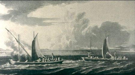 """Illustration of a Congreve rocket barge. Congreve rockets were used by the British in the bombardment of Lewes in 1813. This weapon was the inspiration for the term """"rockets' red glare"""" in """"The Star-Spangled Banner."""""""