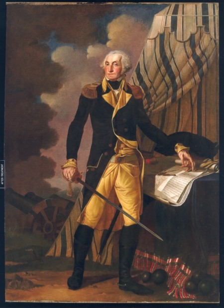 Portrait of George Washington by Denis A. Volozan on display in the Senate chambers of The Old State House.