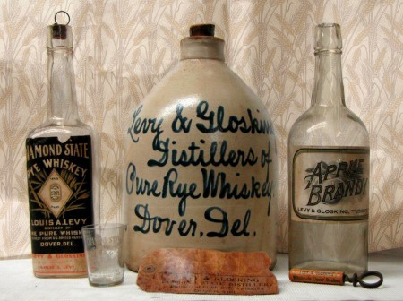 Containers and accessories from Levy & Glosking distillers of Dover, Del.