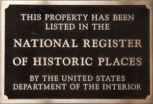Photo of a National Register of Historical Places plaque