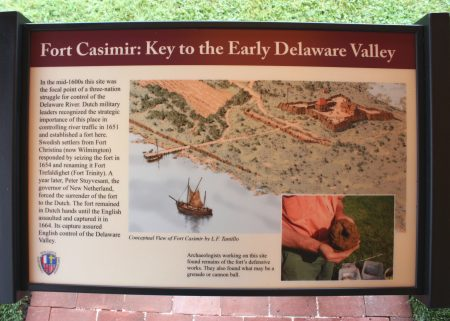 Fort Casimir interpretive sign.