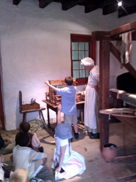 Weaving demonstration at the John Dickinson Plantation.