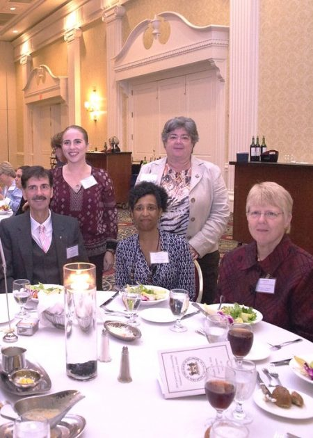 Division of Historical and Cultural Affairs staff members attending the 2016 Governor's Outstanding Volunteer Awards ceremony on Oct. 19, 2016. (From left) Edward McWilliams, manager of the division's CARE Team; Bridget Wallace, volunteer services coordinator; Marian Carpenter, curator of collections management; Suzanne Savery, deputy director; and volunteer Carolyn Apple.
