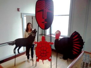 Valerie Kauffman with the props that she created for the spoken-word performance on Delaware's Native Americans that took place on Sept. 17, 2016. After the performance, Kauffman donated the props to the Lenape Indian Tribe of Delaware.
