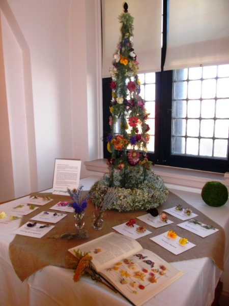 """Displayed items from """"Preserving Our Floral Heritage"""" at the Zwaanendael Museum in December 2016."""