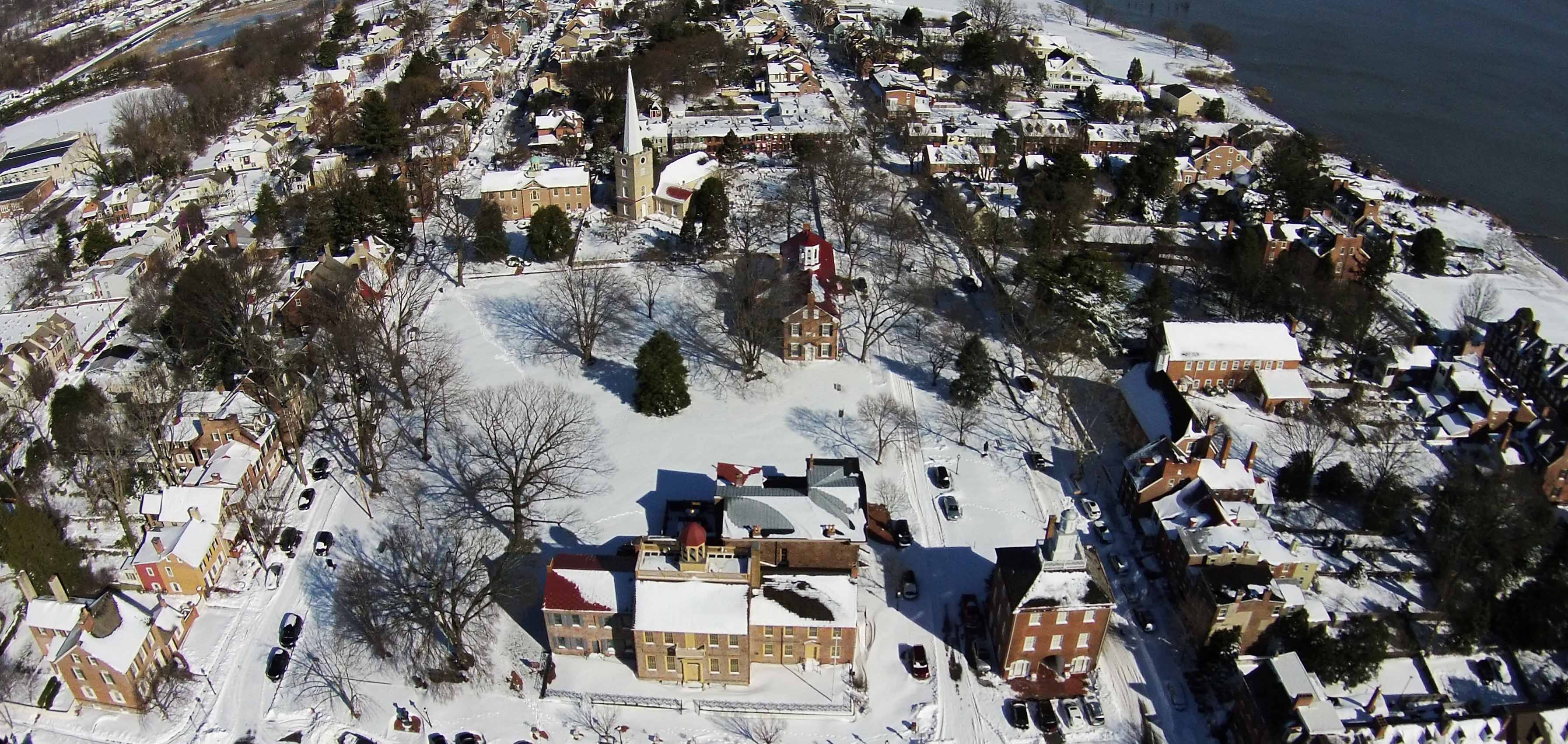 Aerial view of a section of the New Castle Historic District National Historic Landmark.