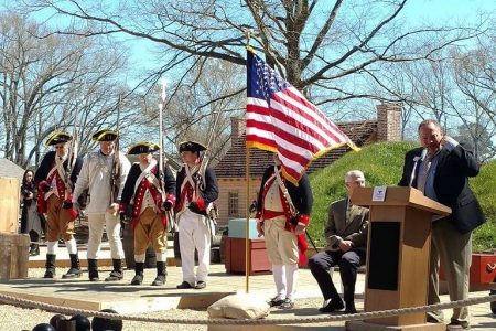 Opening ceremony participants. (From left) Members of the 1st Delaware Regiment; historian Wade Catts; and master of ceremonies Homer Lanier, museum supervisor for historical interpretation at the American Revolution Museum in Yorktown.