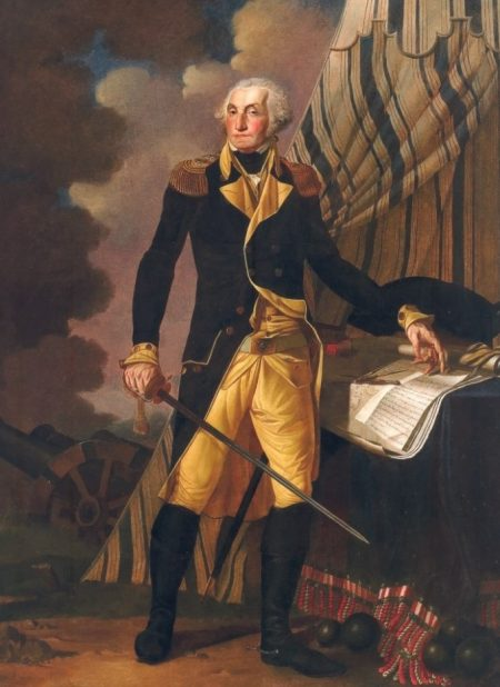 Portrait of George Washington by Denis A. Volozan, oil on canvas, 7' by 5', 1802.The Old State House, Dover, Del.