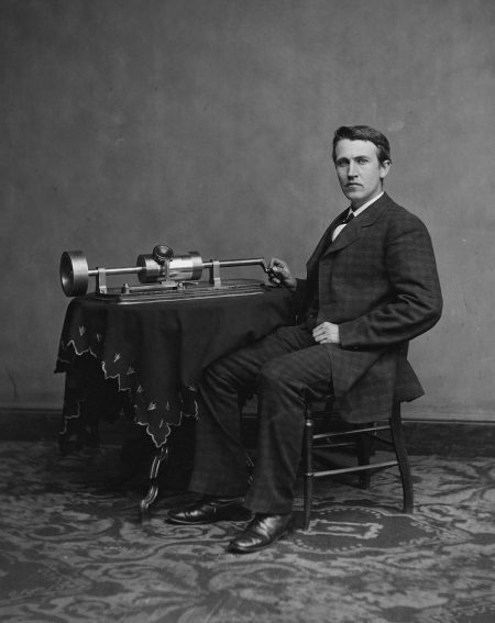 """Thomas Edison posing with a tinfoil phonograph. The """"Wizard of Menlo Park"""" will be one of the inventors featured in the program """"An Inventor's Tale: From Tinfoil to the 78"""" at the Johnson Victrola Museum on Aug. 5 and 19, 2017."""