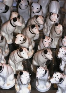 "Display of ""Nipper"" salt and pepper shakers at the Johnson Victrola Museum. The dog who adorned the Victor Talking Machine Company's ""His Master's Voice"" trademark will be featured in programs on Sept. 2 and 4, 2017."