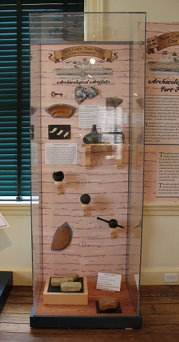 "Artifacts on display in the ""New Castle: Three Forts, One Community"" exhibit"