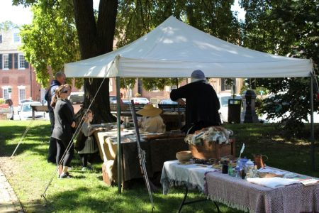 Historical re-enactors and displays on the New Castle Green
