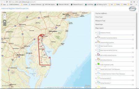 CHRIS start-up screen for National-Register-listed properties in Delaware.